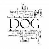 Dog Word Cloud Concept In Black And White