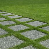 stock photo of manicured lawn  - Perfectly manicured grass growing between concrete tiles - JPG
