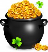 picture of pot gold  - Black pot of leprechauns gold with lucky clovers - JPG