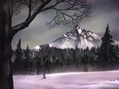 Dark Winter Landscape Painting