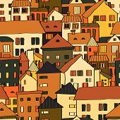 Panorama town various buildings in brown seamless pattern, vector