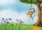 Illustration of a monkey hanging on a vine plant