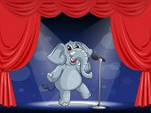 Illustration of an elephant performing on the stage