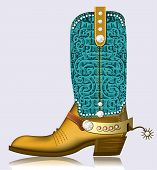 Cowboy Boot And Spur.luxury Shoe With Diamonds For Design