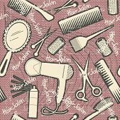 Hairdressing Equipment Seamless Pattern.vintage Background On Old Texture