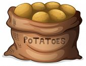 Illustration of a sack of potatoes on a white background