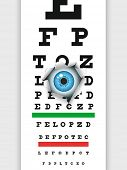 Eye examination through medical eye chart. Humorous illustration. Vector format EPS 8, CMYK.