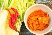 pic of kimchi  - Kimchi cabbage chili radish in the bowl - JPG