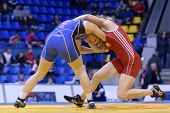KIEV, UKRAINE - FEBRUARY 16: Match between Maroulis, USA, blue and Hanchar, Belarus during XIX Inter