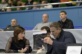 KIEV, UKRAINE - FEBRUARY 16: Olympic Champion Elena Kostevich (left) and President of NOC Sergey Bub