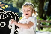 Happy toddler on playground horse