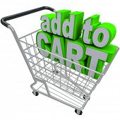 The words Add to Cart in a shopping basket to symbolize ecommerce and browsing or buying from an onl