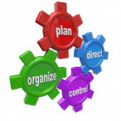 Four gears symbolizing the four principles of good management style: plan, organize, direct, and con
