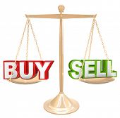 The words Buy and Sell on a gold scale comparing the risks and benefits of timing your buying and se