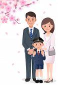 Família sob árvores de flor de cerejeira