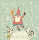 Stylish New Year and Christmas card with cute funny Santa Claus with gifts in vector. Bright childis