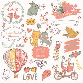 Vintage love collection: flowers, labels, laurel, hearts, birds, cats, rabbit, air-balloon, bicycle.