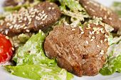 Macro shot of sesame Beef  with Vegetables