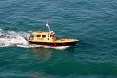 Pilot Boat Steaming Through Caribbean Ocean