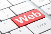 SEO web design concept: Web on computer keyboard background