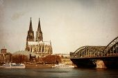 View on Cologne Cathedral and Bridge, Germany