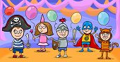 image of witch ball  - Cartoon Illustration of Cute Little Children in Costumes on Fancy Ball - JPG