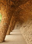 BARCELONA, SPAIN -MAY 9: The famous Park Guell on May 9, 2013 in Barcelona, Spain. Park Guell is the