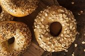 picture of bagel  - Healthy Organic Whole Grain Bagel for Breakfast - JPG