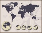 World map with earth globes, editable vector illustration.