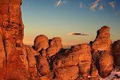 Red Rocks In Light Of Rising Sun