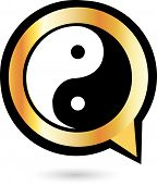 Alphabet Q with ying and yang symbol- Icon concept