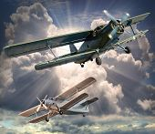 stock photo of fighter plane  - Retro style picture of the biplanes - JPG
