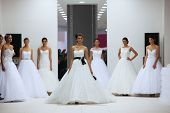 ZAGREB, CROATIA - OCTOBER 12: Fashion model in wedding dress made by Lisa and Maggie Sottero on 'Wedding Expo' show in the Westgate Shopping City in Zagreb, Croatia on October 12, 2013