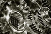 stock photo of titanium  - titanium gears and parts for aerospace industry - JPG