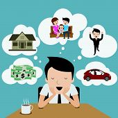 Businessman dream at coffee break. Cartoon Vector.
