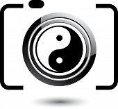 Digital Camera- photography icon with ying yang symbol