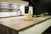 view into modern wooden optic kitchen