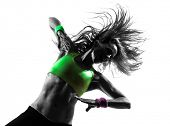 picture of zumba  - one caucasian woman exercising fitness zumba dancing  in silhouette  on white background - JPG