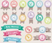stock photo of pacifier  - Ribbons and stamps about babies - JPG