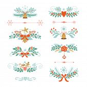 Set of Christmas and New Year graphic elements, holiday symbols, vector collection  on white background