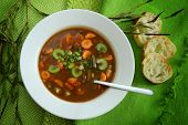 Vegetables soup with bread