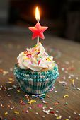 Birthday cupcake with a star candle on top