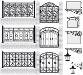 Set of iron wrought fences, gates, signboards and lanterns with decorative ornaments. Vector illustr