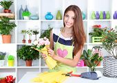 stock photo of flower shop  - Beautiful girl florist with flowers in flowers shop - JPG