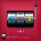 stock photo of bandit  - Vector Slot Machine Illustration With Red Background - JPG