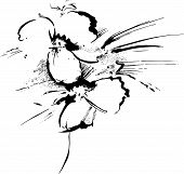 pic of stippling  - handmade painting flower in color black and white - JPG