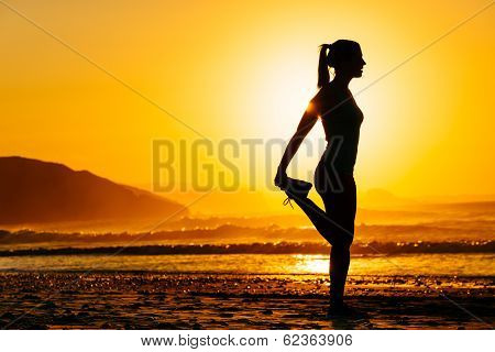 Woman Exercising On Beautiful Morning poster