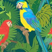 image of green-winged macaw  - Seamless pattern with palm trees leaves and Blue Yellow and Red Blue Macaw parrots - JPG