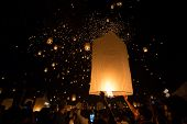 CHIANGMAI THAILAND NOVEMBER 16  : thai people launching sky lantern for Yi Peng buddhist Festival on