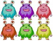 stock photo of monsters  - Illustration of the six colorful monsters on a white background - JPG